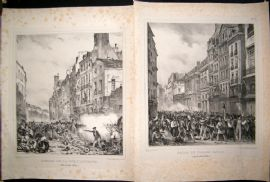 After Charlet and Jaime 1830 LG Folio Lithographs. French Revolution (2) Paris